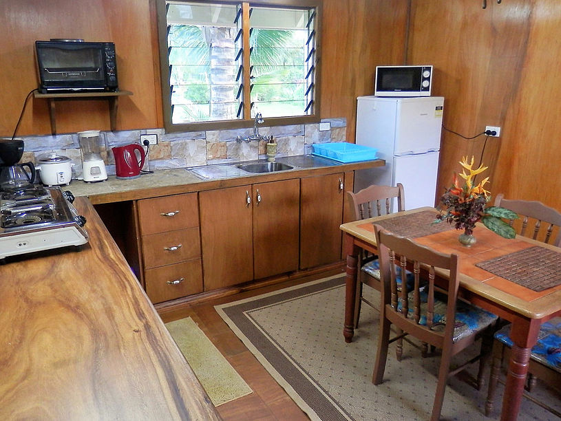 The kitchen has full size refrige/freezer, gas stove, dish and silver to serve up to 6 guests