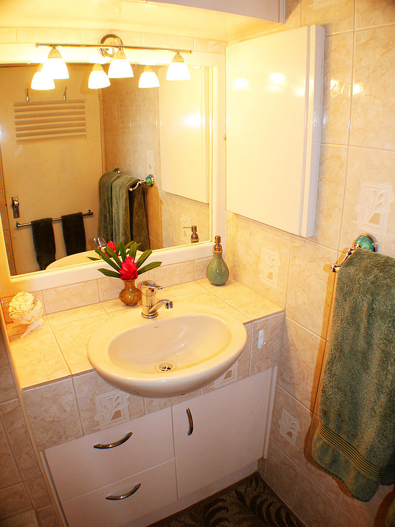 Your vanity is well lit with hot water to all taps in the house