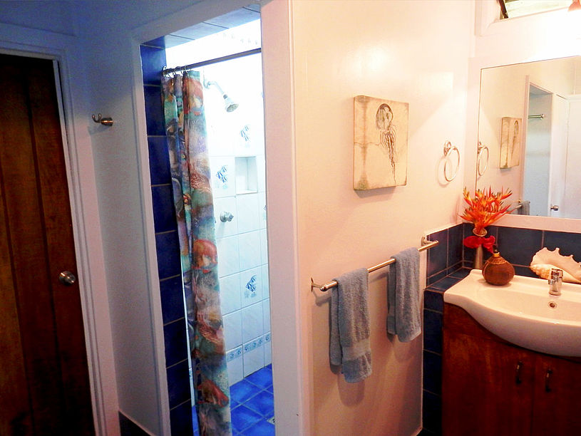 Large bathroom between both bedrooms includes walk-in shower with ocean view, separate water closet, hot water to all taps
